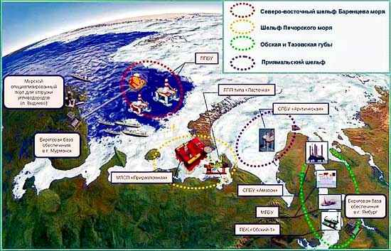 Районы работ на арктическом шельфе