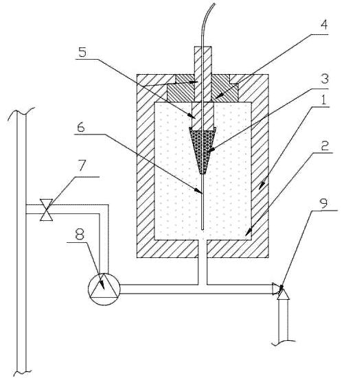 Схема расположения образца в баке при испытании на воздействие гидростатического давления