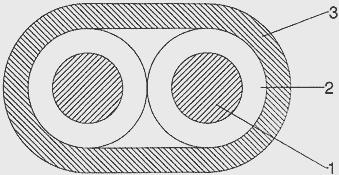 Схематическое изображение одной экранированной пары монтажного кабеля в поперечном сечении